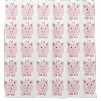 Cute Surprised Pink Pig pattern Shower Curtain