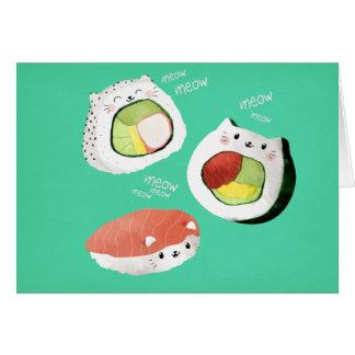 Cute Sushi Cat Greeting Card