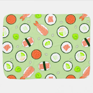 Cute Sushi Pattern Green Buggy Blankets