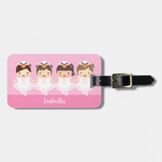 Cute Swan Ballet Ballerina For Girls Luggage Tag