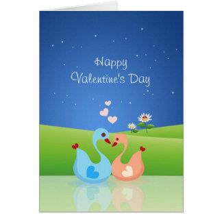 Cute Swan Couple Full of Love Heart Greeting Card