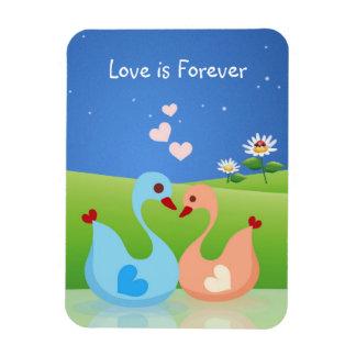 Cute Swan Couple - Love is Forever Vinyl Magnet
