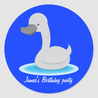 Cute swan Gosling grey Round Stickers