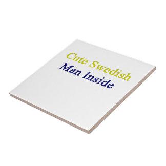 Cute Swedish Man Inside Small Square Tile