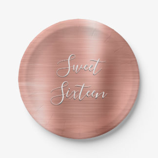 Cute Sweet 16 Birthday Rose Gold Blush Pink Paper Plate