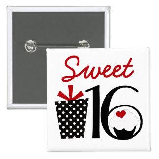 Cute Sweet 16 Cupcake and Polkadot Present Pins