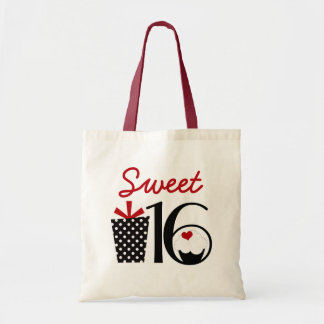 Cute Sweet 16 Cupcake and Polkadot Present Budget Tote Bag