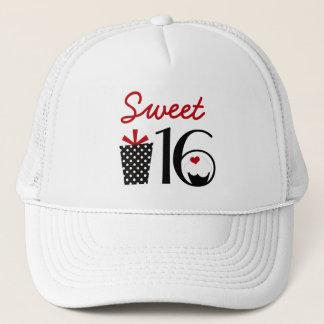 Cute Sweet 16 Cupcake and Polkadot Present Trucker Hat