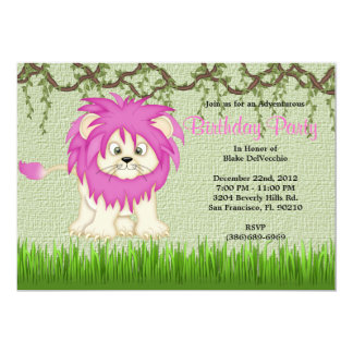 CUTE Sweet Baby  PINK LION Vines Jungle Birthday 13 Cm X 18 Cm Invitation Card