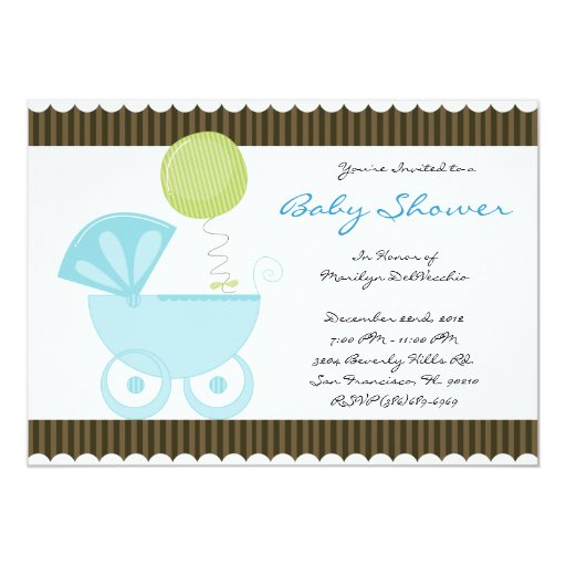 CUTE Sweet Blue Carriage Baby Shower 13 Cm X 18 Cm Invitation Card