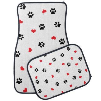 Cute sweet clear black paw red heart pattern car mat