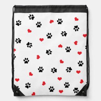 Cute sweet clear black paw red heart pattern drawstring bag
