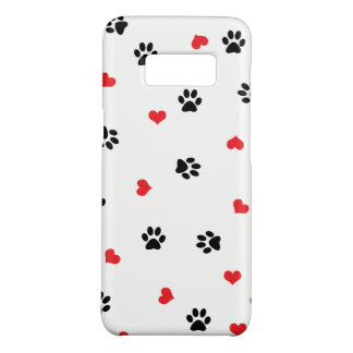 Cute sweet clear pet paw and red heart pattern Case-Mate samsung galaxy s8 case