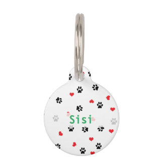 Cute sweet clear pet paw and red heart pattern pet ID tag