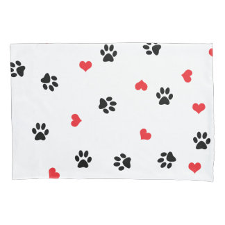 Cute sweet clear pet paw and red heart pattern pillowcase