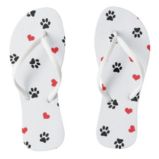 Cute sweet clear pet paw and red heart pattern thongs