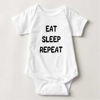 Cute Sweet Eat Sleep Repeat Text for Baby Baby Bodysuit
