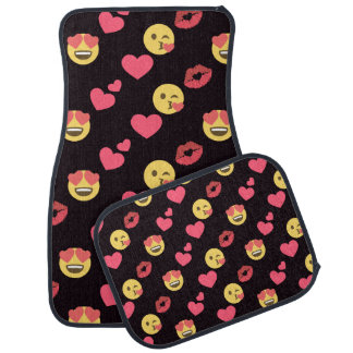 cute sweet emoji love hearts kiss lips pattern car mat