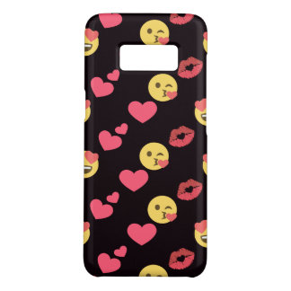 cute sweet emoji love hearts kiss lips pattern Case-Mate samsung galaxy s8 case