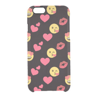 cute sweet emoji love hearts kiss lips pattern clear iPhone 6/6S case