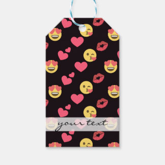 cute sweet emoji love hearts kiss lips pattern gift tags
