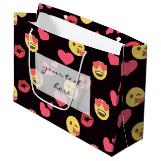 cute sweet emoji love hearts kiss lips pattern large gift bag