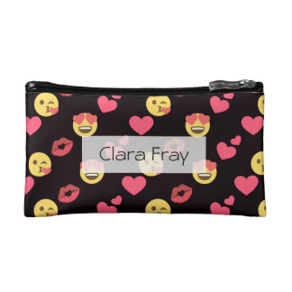 cute sweet emoji love hearts kiss lips pattern makeup bag