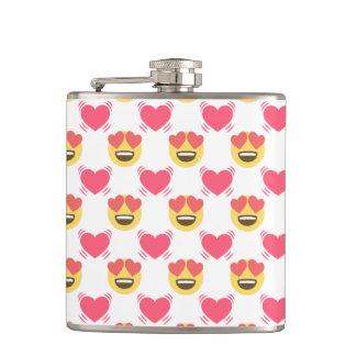 Cute Sweet In Love Emoji, Hearts pattern Flask
