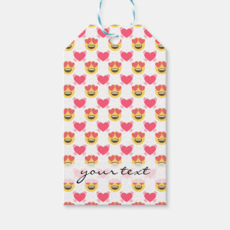 Cute Sweet In Love Emoji, Hearts pattern Gift Tags