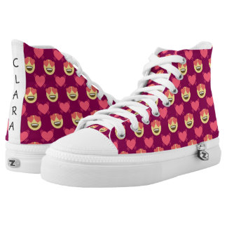 Cute Sweet In Love Emoji, Hearts pattern High Tops