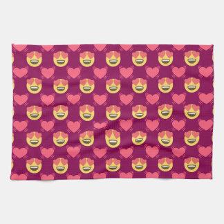 Cute Sweet In Love Emoji, Hearts pattern Kitchen Towels