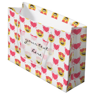 Cute Sweet In Love Emoji, Hearts pattern Large Gift Bag