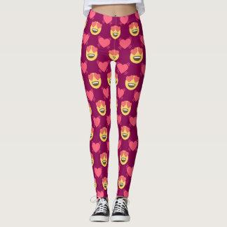 Cute Sweet In Love Emoji, Hearts pattern Leggings