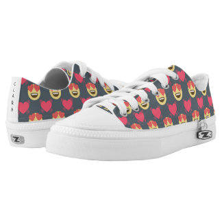 Cute Sweet In Love Emoji, Hearts pattern Low Tops