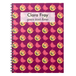 Cute Sweet In Love Emoji, Hearts pattern Notebook
