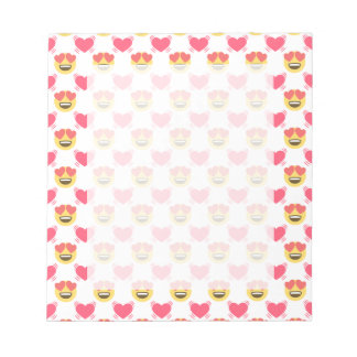 Cute Sweet In Love Emoji, Hearts pattern Notepad