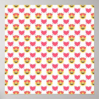 Cute Sweet In Love Emoji, Hearts pattern Poster