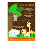 Cute Sweet Jungle Animals Baby Boy Baby Shower 13 Cm X 18 Cm Invitation Card