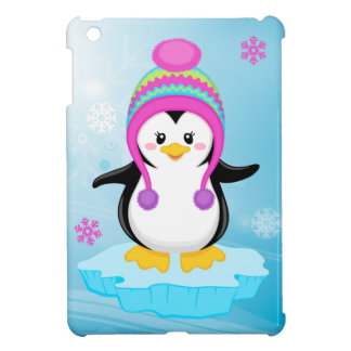 cute sweet little girl bundled up penguin cartoon case for the iPad mini