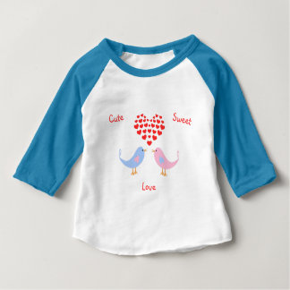 Cute sweet love birds custom text baby T-Shirt