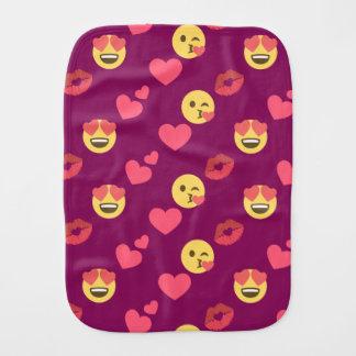 Cute Sweet Pink Emoji Love Hearts Kiss Pattern Burp Cloth
