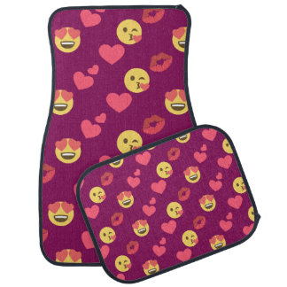 Cute Sweet Pink Emoji Love Hearts Kiss Pattern Car Mat
