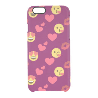 Cute Sweet Pink Emoji Love Hearts Kiss Pattern Clear iPhone 6/6S Case