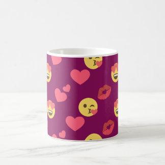 Cute Sweet Pink Emoji Love Hearts Kiss Pattern Coffee Mug