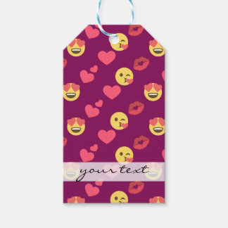 Cute Sweet Pink Emoji Love Hearts Kiss Pattern Gift Tags
