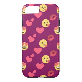 Cute Sweet Pink Emoji Love Hearts Kiss Pattern iPhone 8/7 Case