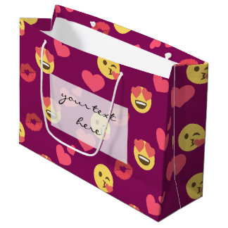 Cute Sweet Pink Emoji Love Hearts Kiss Pattern Large Gift Bag