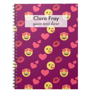 Cute Sweet Pink Emoji Love Hearts Kiss Pattern Notebooks