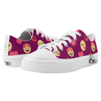 Cute Sweet Pink Emoji Love Hearts Kiss Pattern Printed Shoes