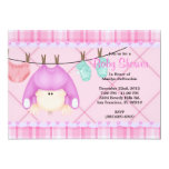 CUTE Sweet PINK Girls Baby Shower 5x7 Paper Invitation Card